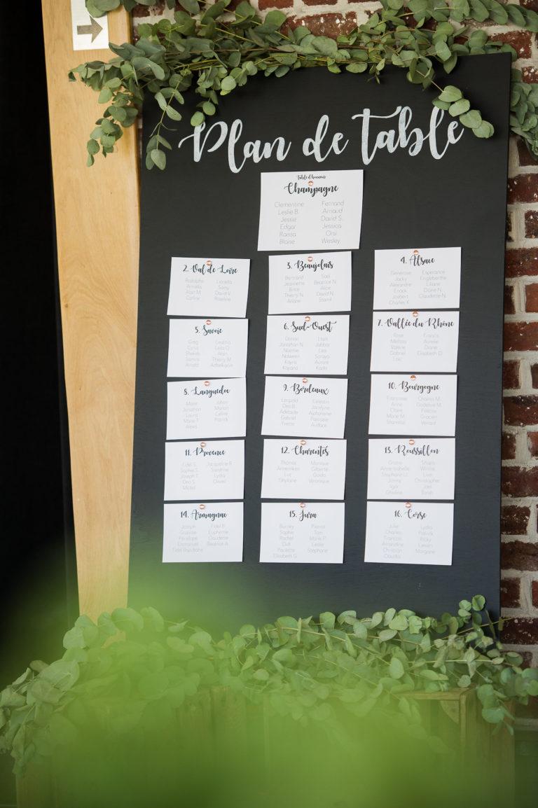 plan de table - mariage Clémentine & Fernand